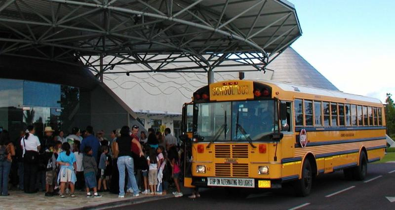 School bus at Imiloa