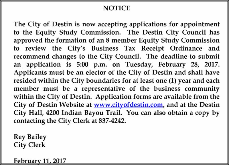 City of Destin Ad
