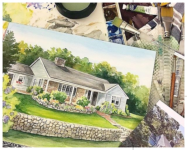 After - Realestate Agent closing gift, watercolor house portrait by Renee'  MacMurray #macmurraydesigns #reneemacmurray #artstudio #artgallery #artist #watercolor #realestate #realtor #broker #houseportrait #house #realestate #customartwork #commissionart