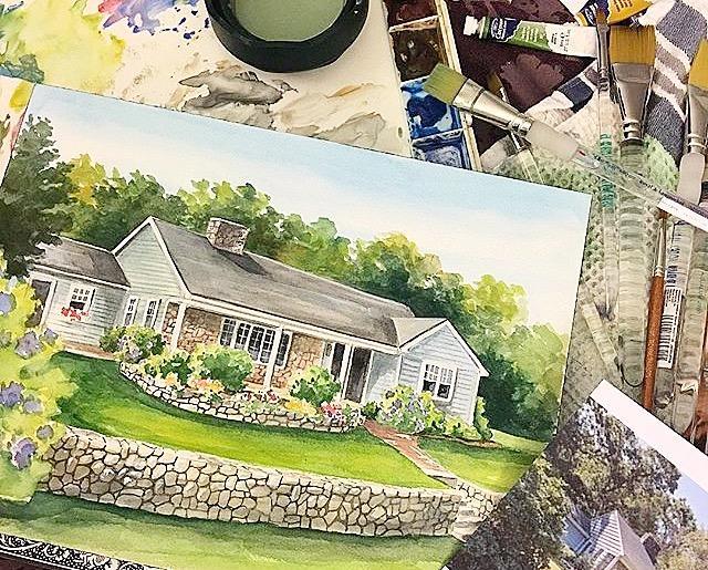 After - Realestate Agent closing gift, watercolor house portrait by Renee'  MacMurray #macmurraydesigns #reneemacmurray #artstudio #artgallery #artist #watercolor #realestate #realtor #broker #houseportrait #house #realestate #customartwork #commissionart