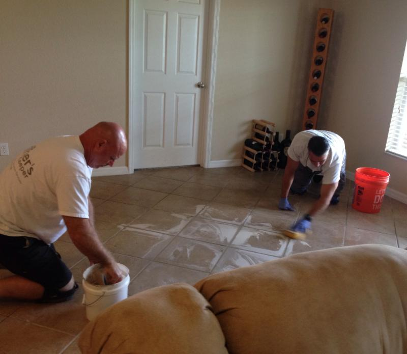 Jim and Pete Injecting Tile