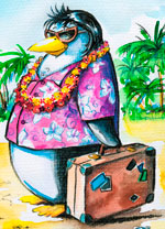 Snowbird Penguin with Suitcase