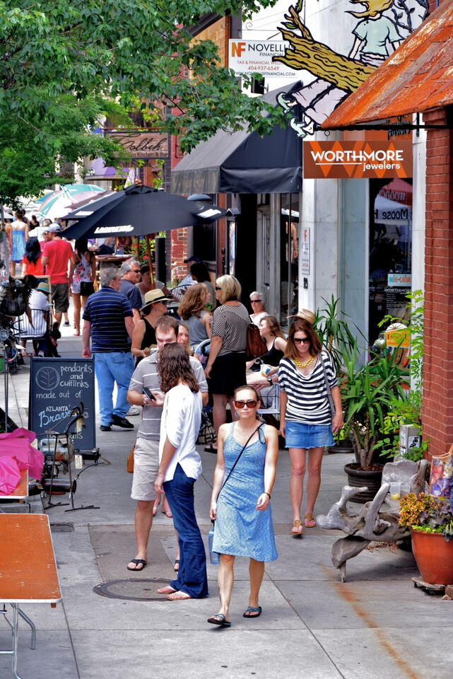 People walking in Decatur retail area