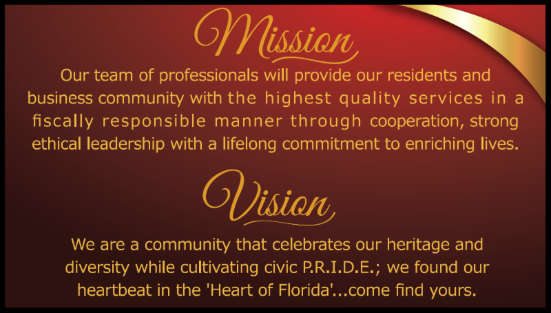 Picture of Mission and Vision Statement for City of Haines City