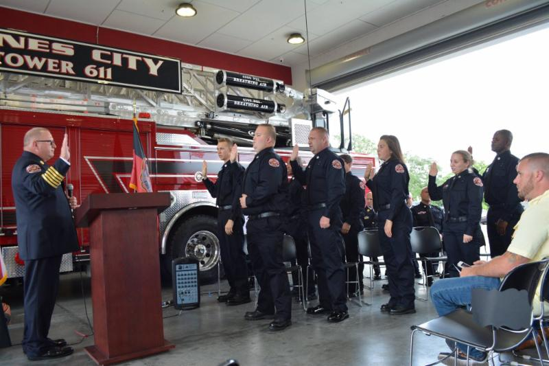 Photo of Fire Chief swearing in new Firefighters