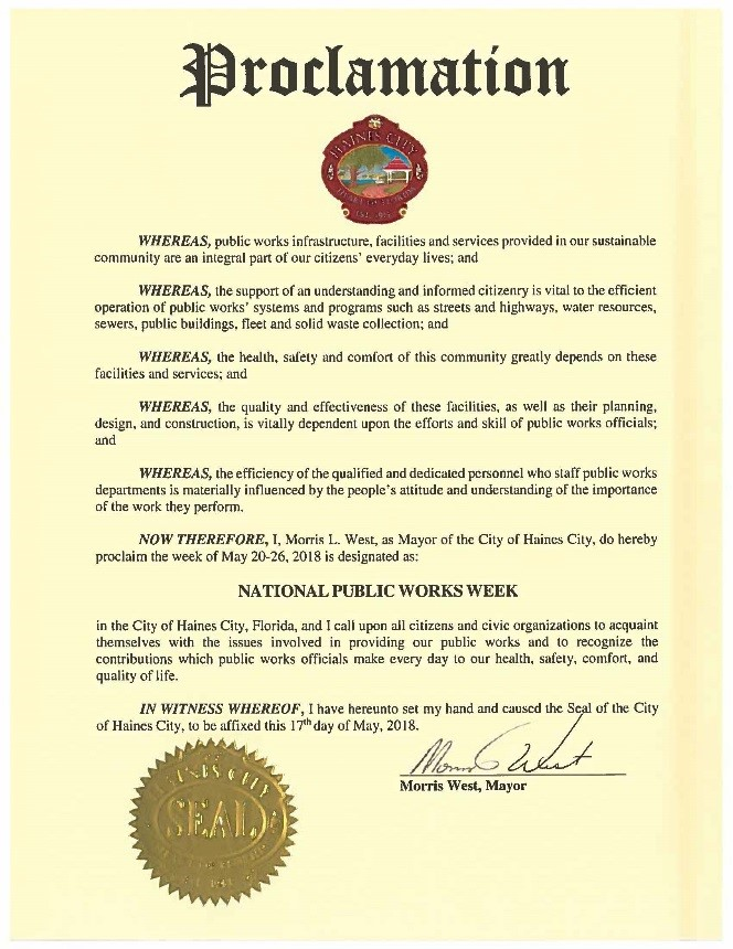 Picture of Proclamation for Public Works Weeks