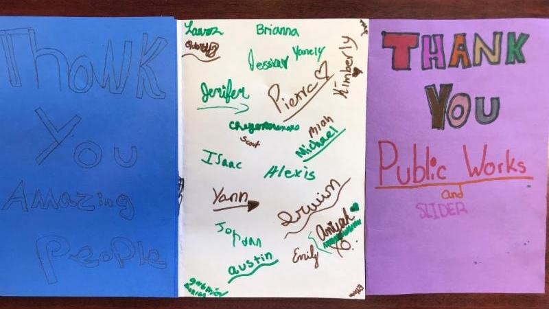 Photo of thank you card from students