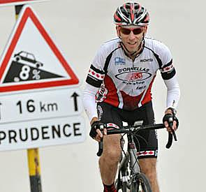 Dr. Rick Penciner climbing Mont Ventoux in France, the legendary stage of the Tour de France.