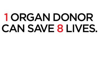 One organ donor can save 8 lives.