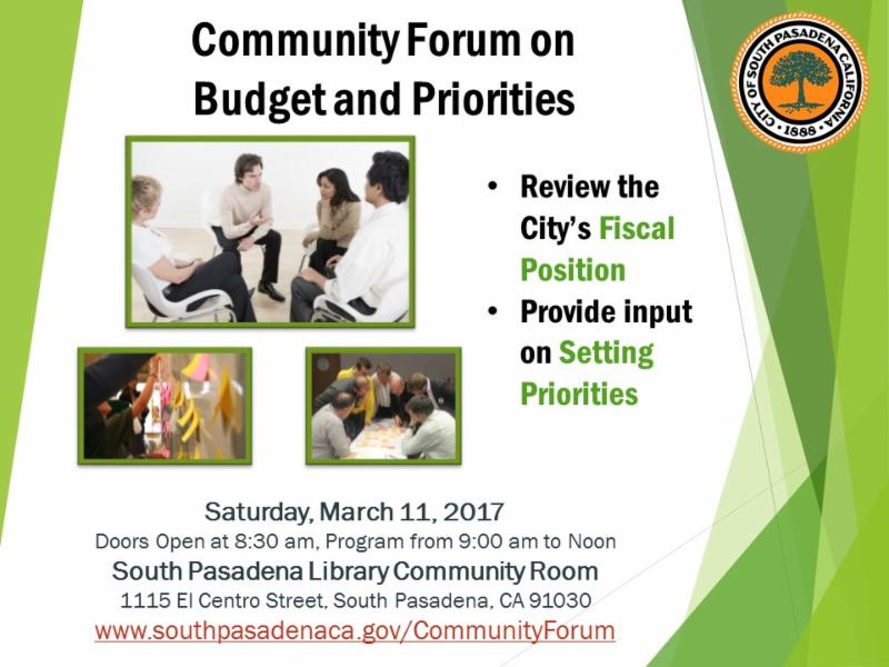 Community Forum Budget and Priorities 2017