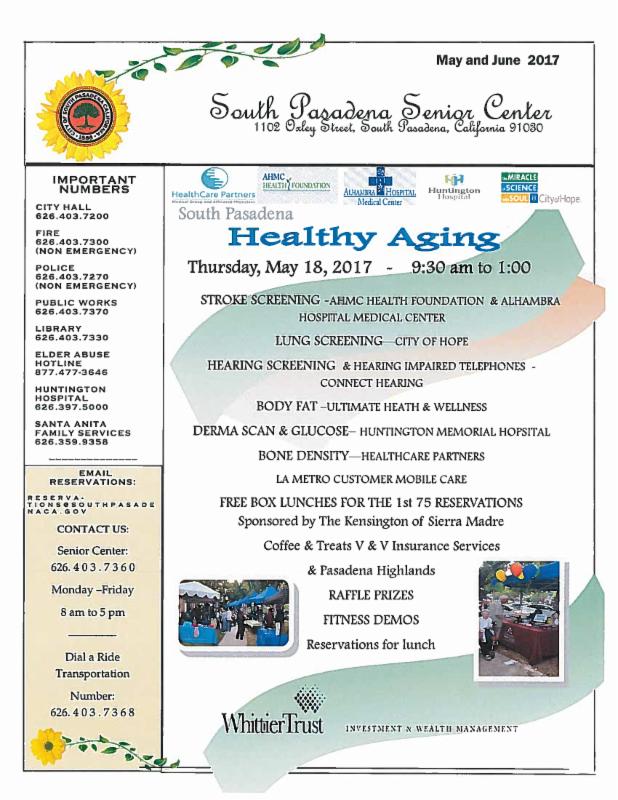Senior Center Newsletter for May and June 2017