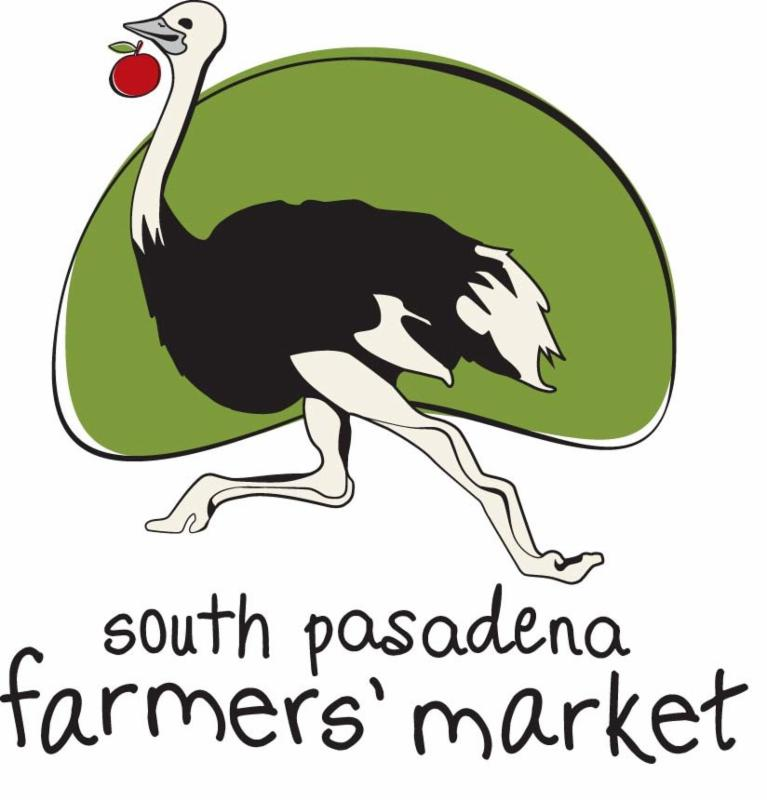 South Pasadena Farmers_ Market Logo - Ostrich with an apple on a white and green background