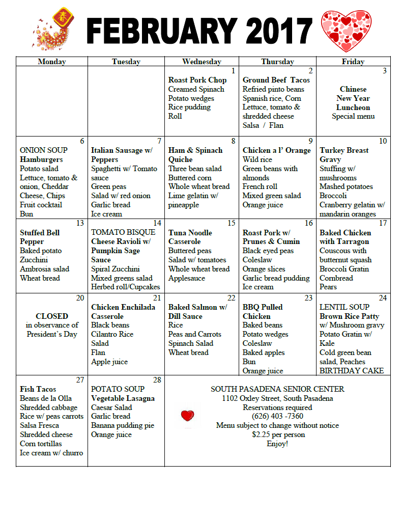 senior center menu february 2017