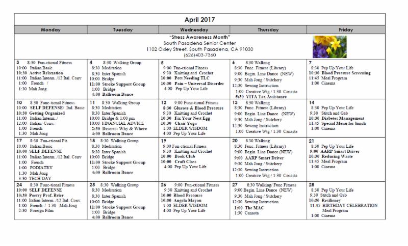 calendar April 2017 Senior center