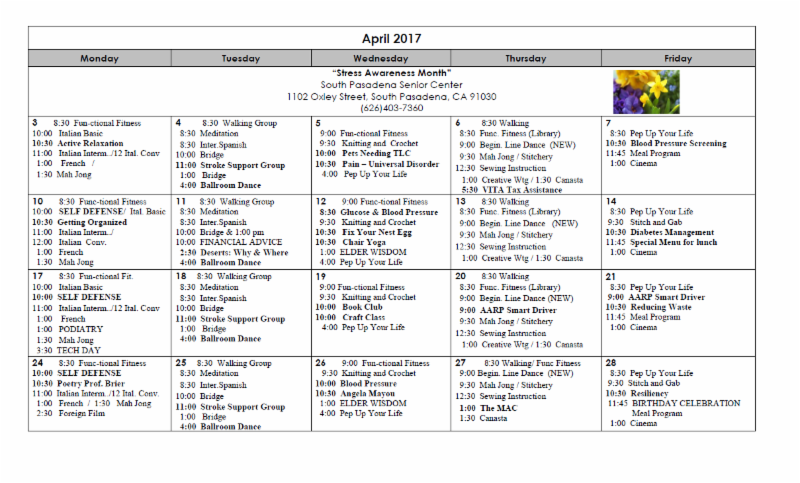 May 2017 Senior Center Activity Calendar