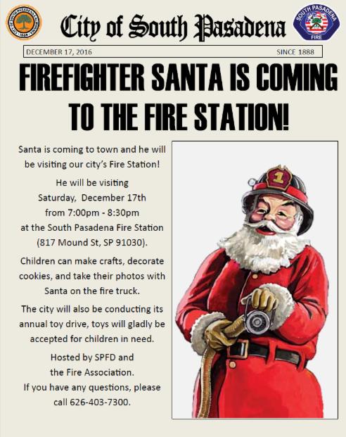 Firefighter Santa 2016 Flyer