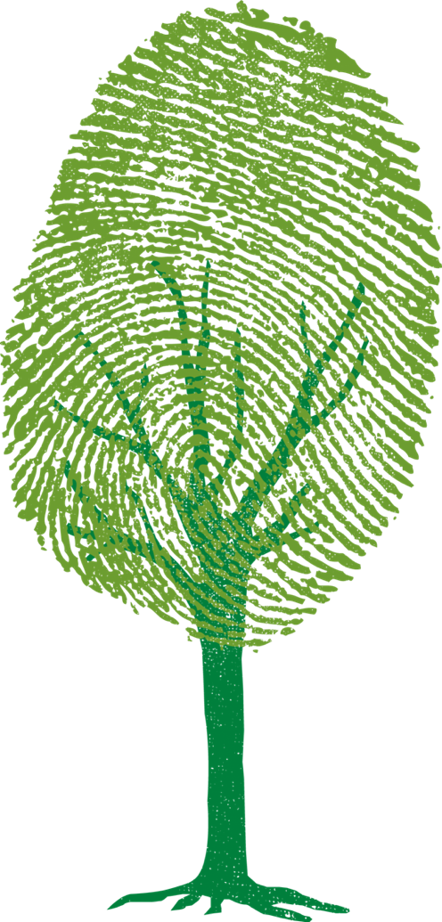 Green tree with finger print