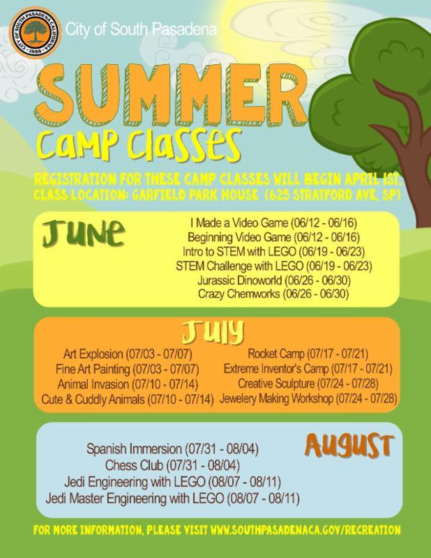 summer camp classes 2017