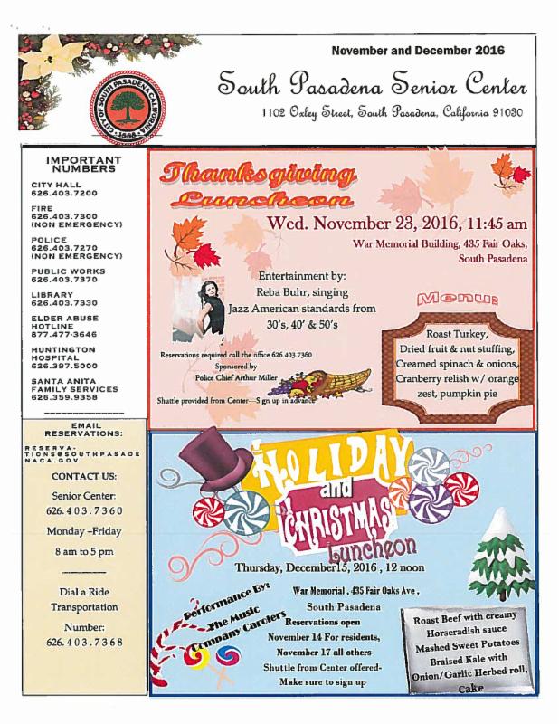 Senior Newsletter November December 2016