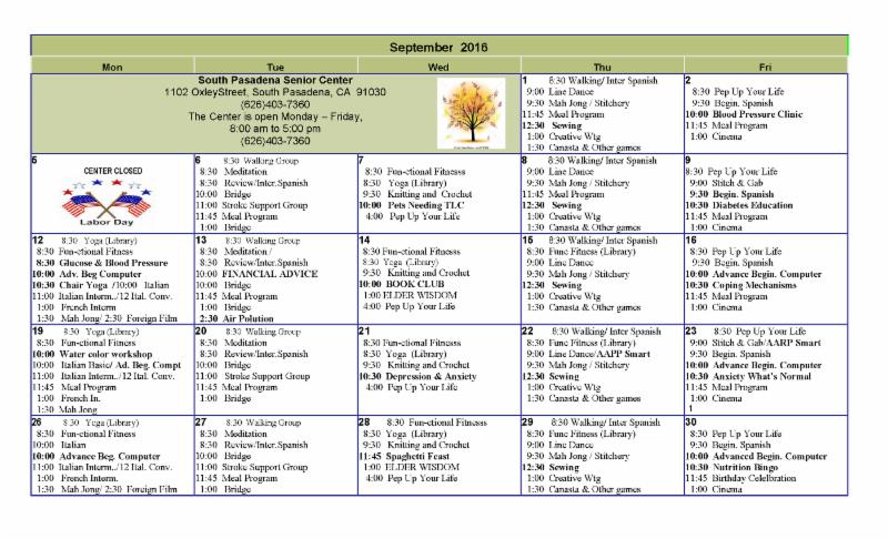 Senior Center October 2016 Activity Calendar