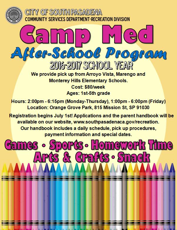 camp med after school program flyer