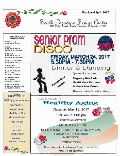 March 2017 senior center newsletter