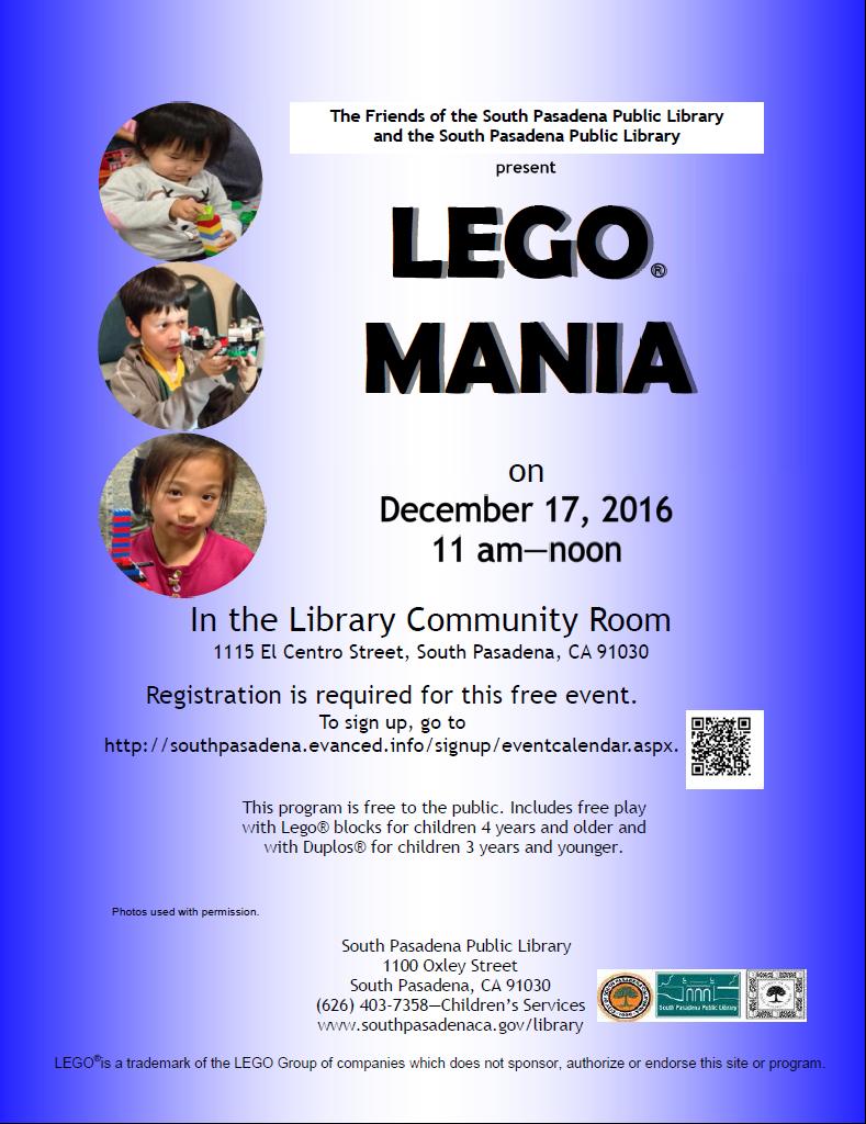 Lego Mania 2016 Flyer