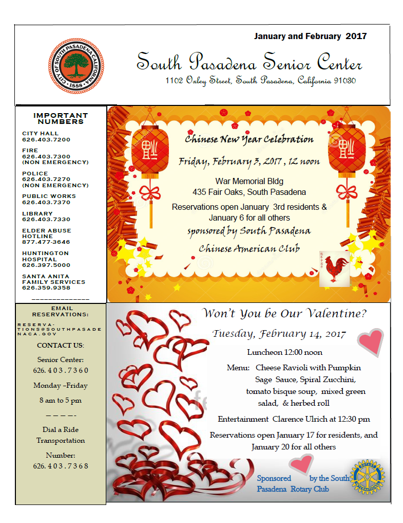 senior center newsletter january february 2017