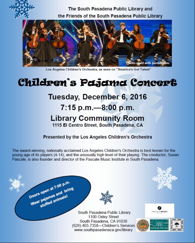 Children_s pajama concert 2016 Flyer