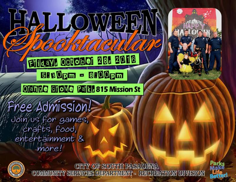 Halloween Spooktacular - Friday_ October 28_ 2016 from 5_30 pm to 8pm - Orange Grove Park_ 815 Missions Street - Free Admission