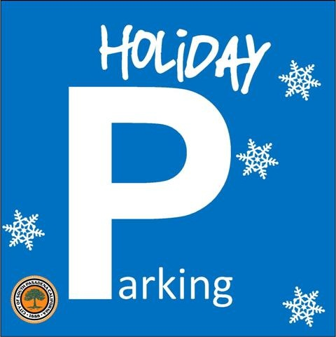 Holiday Parking Blue background with snowflakes