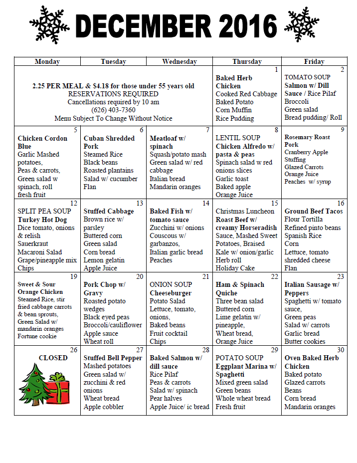 senior menu december 2016