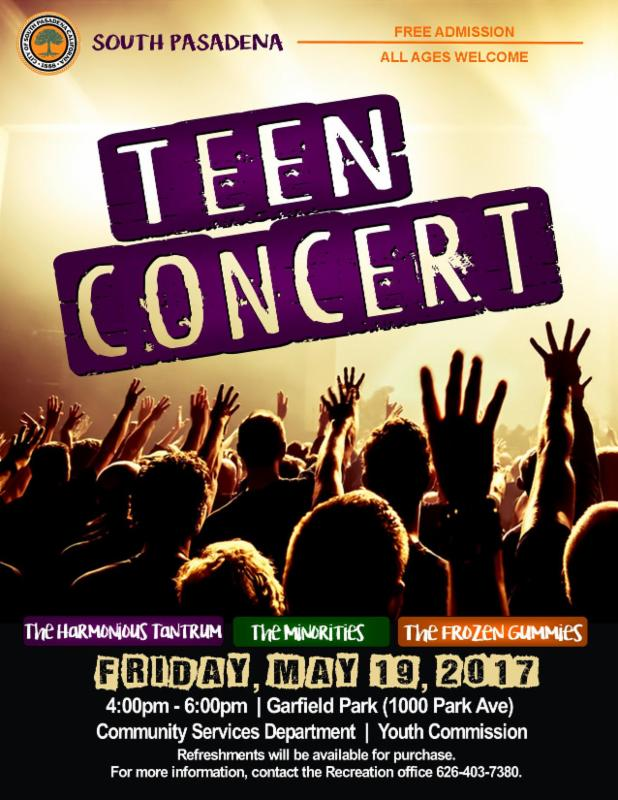 Teen Concert - Friday_ May 19_ 2017 - 4pm to 6pm - Garfield Park_ 1000 Park Ave - Free Admission_ All ages welcome. Refreshments will be available for purchase.