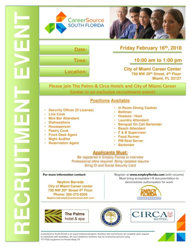 Employ Florida Resume | New Employment Alert The Palms Circa Hotels Hiring Event