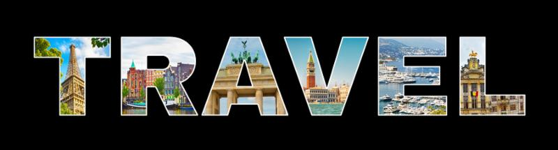 Panoramic Text Travel on isolated black background. Beautiful photo Collage Frame Word Travel made from photos of European cities  Paris_ Amsterdam_ Berlin_ Venice_ Brussels_ Monaco. Web banner