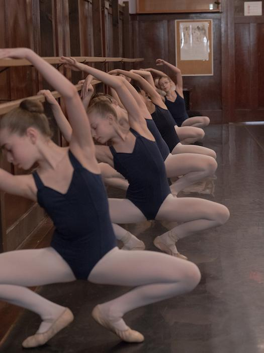FVAD Master III ballet students in class at the barre