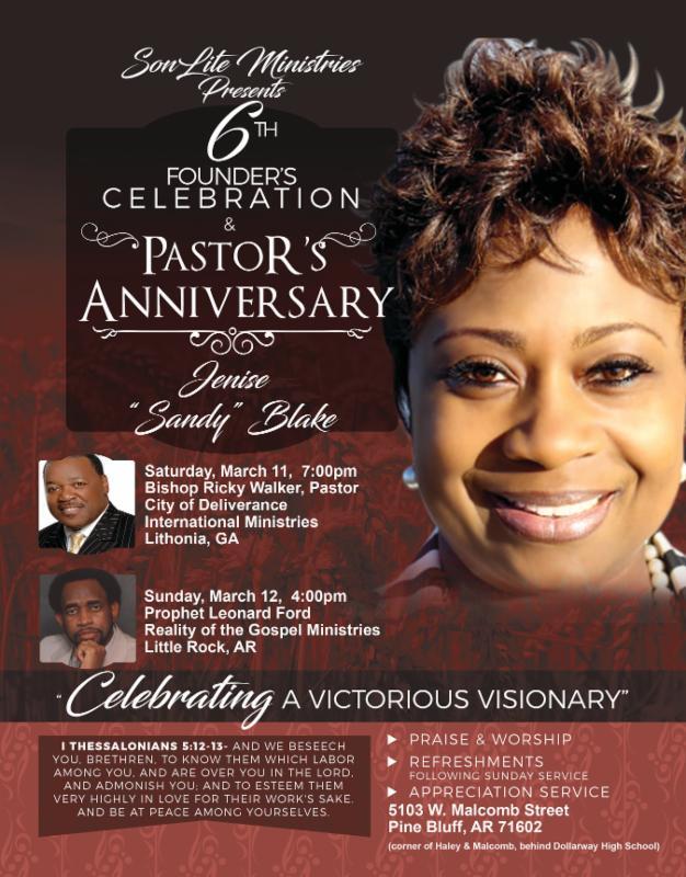 SONLite Ministries 6th Founder's Celebration & Pastor's Anniversary