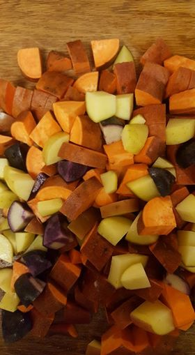 Sweet potatoes before roasting
