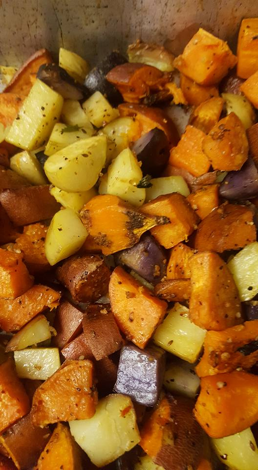 Sweet potatoes after roasting