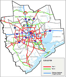 Greater Houston Freight System Map