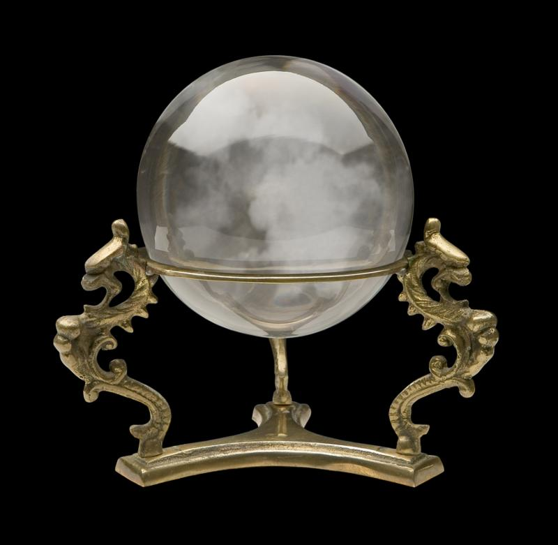 A photo of a Crystal Ball isolated on a black background