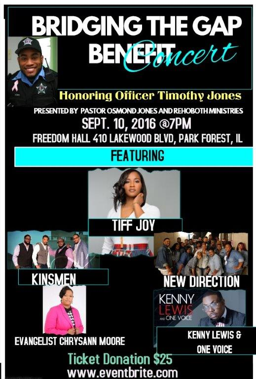 Bridging the Gap Benefit Concert Honoring Officer Timothy Jones on Sturday, September 10