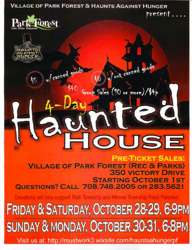 Village of Park Forest and Haunts Against Hunger to Host 4-Day Haunted House Event