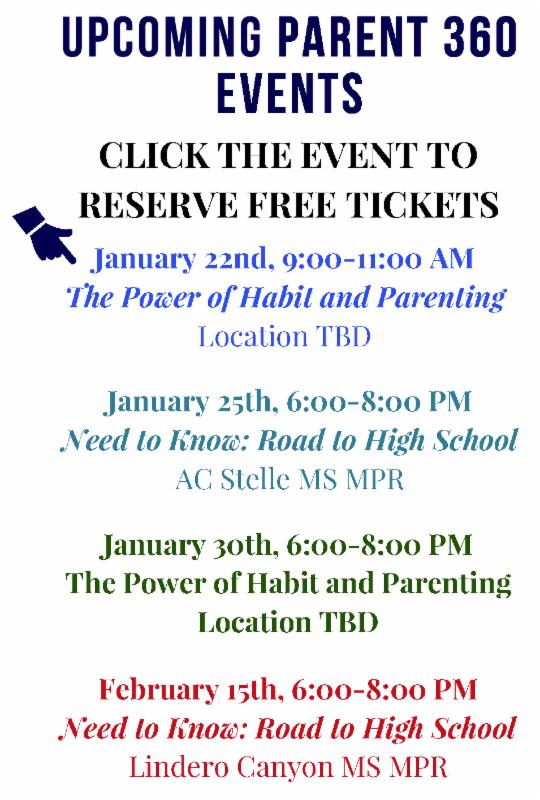 Parent 360 Free Events