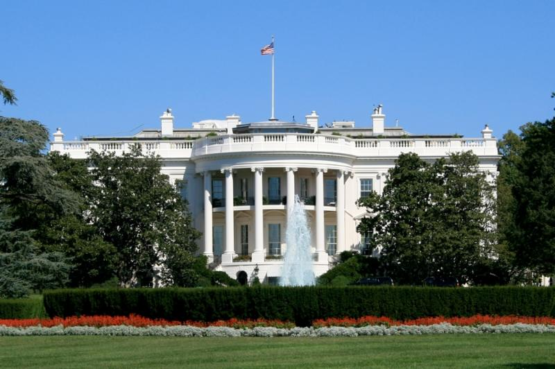 The White House in Washington DC against a clear blue sky