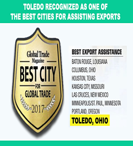 Toledo Recognized as one of the best cities for assisting exports by Global Trade Magazine