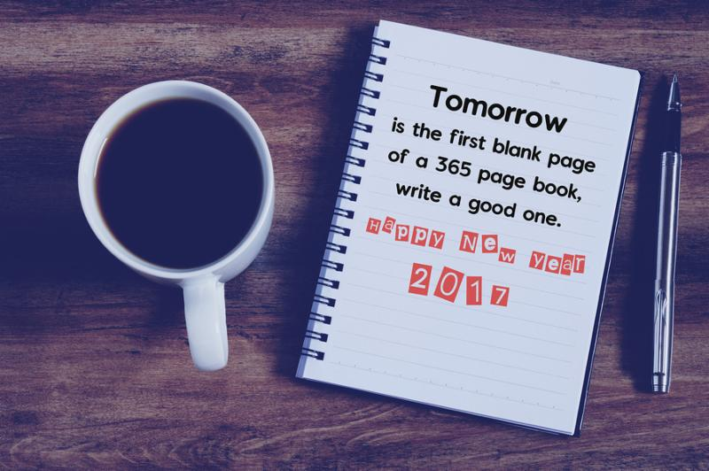 Happy new year inspirational quotes with phrase   tomorrow is the first blank page of 365 page book write a good one Happy new year 2017 with cup of coffee notepad and pen background retro style