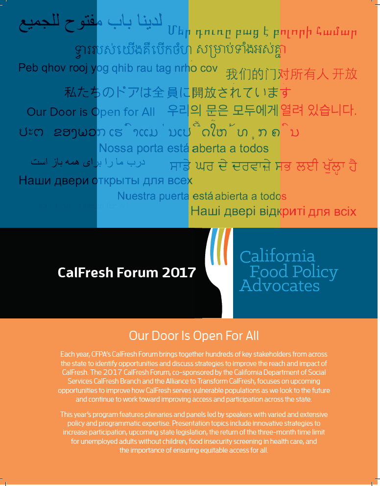 Nutrition Action Alert: CalFresh Forum Event Program Now Posted