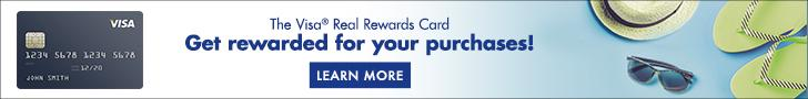 The Visa Real Rewards Card. Get Rewarded for your purchases. Click for more information on credit cards.