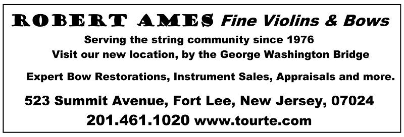 Ames Violins and Bows....check it out: www.tourte.com